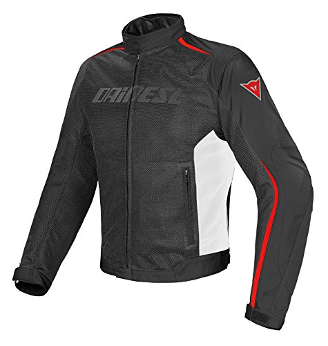 Dainese-HYDRA FLUX D-DRY Giacca da moto, Nero/Bianco/Rosso, Taglia 48
