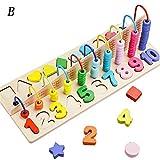 Holidaysummer Holz-Kinder-Perlen-Puzzle mit Zahlen, Graphisches Puzzle, Lernspielzeug für Kinder (B)