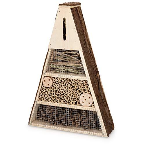 Navaris Hôtel à Insecte Bois - Cabane Abri 40 x 28 x 8,5 cm - Maisonnette Refuge pour Abeille Coccinelle Papillon Insectes Volants - Jardin Balcon