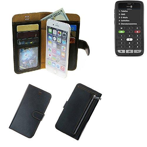 K-S-Trade® Für Doro 8031C Portemonnaie Schutz Hülle Schwarz Aus Kunstleder Walletcase Smartphone Tasche Für Doro 8031C - Vollwertige Geldbörse Mit Handyschutz