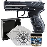 Softairpistole H&K P30 Federdruck, Kaliber 6 mm, max. 0,5 Joule + Walther Premium Softair BBs Kal. 6 mm 0,20 g - 5000 Stück + Kugelfang flach 14x14cm + 10 ShoXx.® shoot-club Zielscheiben 14x14cm