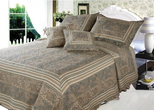 DaDa Bedding DXJ101873 Paradise Cotton 3-Piece Quilt Set, Twin, Paisley by DaDa Bedding