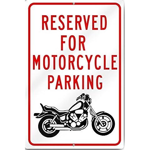 Reservado aparcamiento de la motocicleta (gráfico) cartel 12X 18inch Tall reflectante de aluminio de calibre pesado
