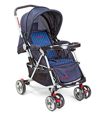 LuvLap Baby Stroller Pram 2 in 1 with Rocker  Blue