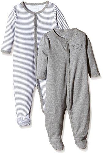 NAME IT Baby-Jungen Schlafstrampler NITNIGHTSUIT W/F NB NOOS, 2er Pack, Gr. 74, Mehrfarbig (Grey Melange)