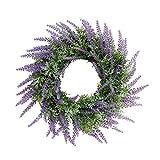 Baoblaze Künstliche Lavendel Kranz Türkranz Wandkranz Dekokranz Weihnachtskranz Adventskranz, aus Plastik - Lila