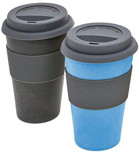 Magu Trink-Becher 2er Set 420 ml aus Bambus und Mais, 2 Pastell-Farben bunt, als Kaffee-Becher, Kaffee-Tassen, Thermo-Becher, Isolier-Becher einsetzbar, für Heiß-Getränke, Kalt-Getränke natürliches Design, biologisch abbaubar, Farbe:Schiefer + Blau