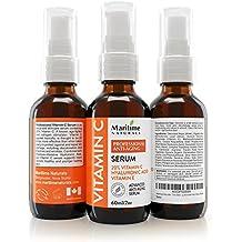 De Canadá, Vitamin C Serum- 20 % de vitamina C con ácido hialurónico y vitaminas C+E, tratamiento profesional para la piel del rostro, ayuda a reparar los daños solares, aclara las manchas causadas por la edad, combate las ojeras y las arrugas. Orgánico, se puede usar con un Dermaroller. 60ML
