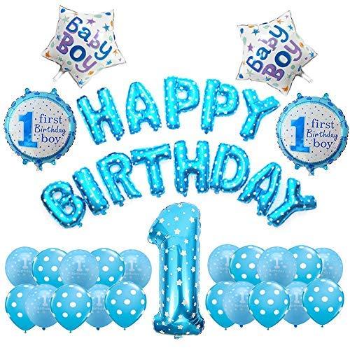 Weimi 1. Geburtstag Dekorationen für Jungen aufpumpen Helium Folienballons Dekoration Set