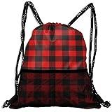 48b3a26f86 Hipiyoled Lumberjack Plaid Red Black Pattern Bulk Drawstring Backpack Cinch  Bag Sport Gym Sack for Traveling