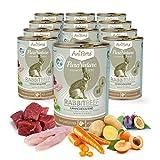 AniForte Natürliches Nassfutter Rabbit-Beef für Hunde, Kaninchen und Rind, getreidefrei, glutenfrei, Futter mit 85% Fleisch, Hundefutter für alle Hunderassen, Ohne künstliche Zusätze (12 x 400g)
