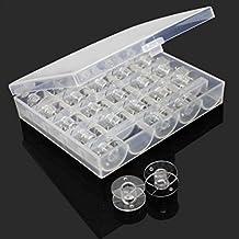 25 unidades / caja transparente vacía máquina de coser bobinas bobinas con funda Cores Winders para