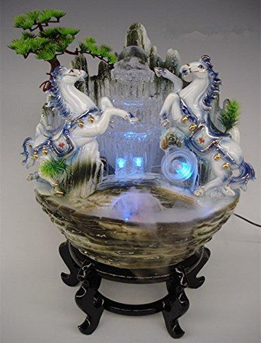 efeuchter Wasserwelt Aquarium dekoriert mit High-End-chinesischen Neuen Steingarten Bonsai Doppel Pferd ()