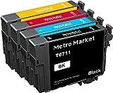 Metro Market 4 Stücke Patronen Ersatz für Epson T0711 T0712 T0713 T0714 (T0715) Tintenpatronen Kompatibel für Epson Stylus SX218 SX110 SX100 SX410 DX4400 DX8400 DX4000 DX7400 DX4450 SX400 SX210