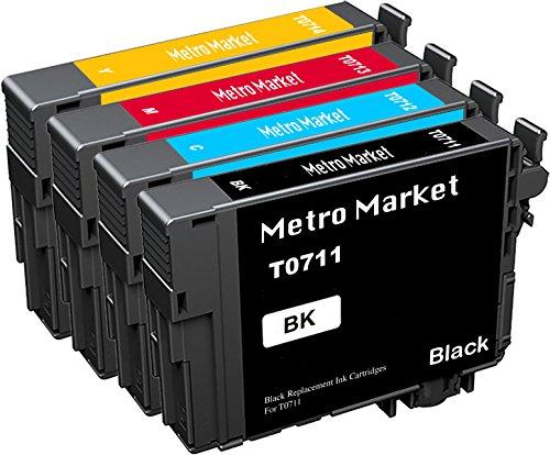 Metro Market 4 Stücke Patronen Ersatz für Epson T0711 T0712 T0713 T0714 (T0715) Tintenpatronen Kompatibel für Epson Stylus SX218 SX110 SX100 SX410 DX4400 DX8400 DX4000 DX7400 DX4450 SX400 SX210 (Cheetah 110)