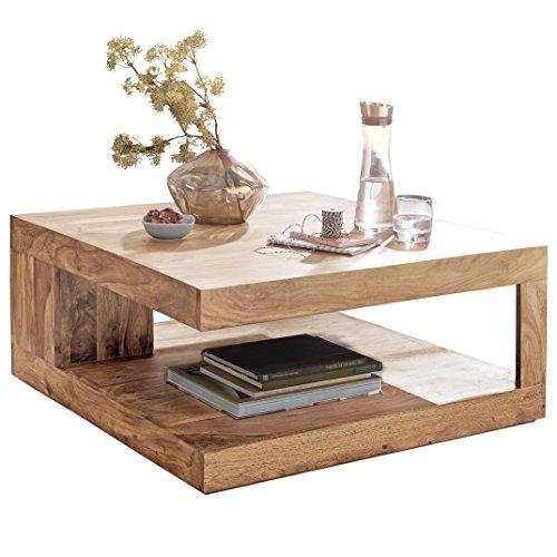 chtisch PATAN 90 x 90 cm mit Ablage Akazie Holz Massiv | Design Wohnzimmertisch Massivholz | Wohnzimmer Tisch Quadratisch ()