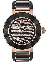 Swarovski montre Octea Sport Zebra Or rose 39mm avec cristaux Noir et bracelet en caoutchouc Noir 5080197fabriquée en Suisse à mouvement à quartz