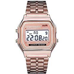 WR Sport Ultra-Mince Montre de Ceinture en Acier Lumineux Multifonction métal métal Smart Watch Intelligente Horloge Bracelet électronique mécanique