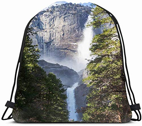 DHNKW Drawstring Backpack String Bag 14x16 Blue Beautiful Waterfalls Yosemite National Park California Afternoon Green Beauty Cascade Cliff Climbing Sport Gym Sackpack Hiking Yoga Travel Beach