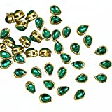 #5: Kundans for Jewellery Making,Craft,Embroidery,Saree,Blouse Work and Dress Making, 100 Pcs, 5x8MM, Tear Drop Shape,Green Color