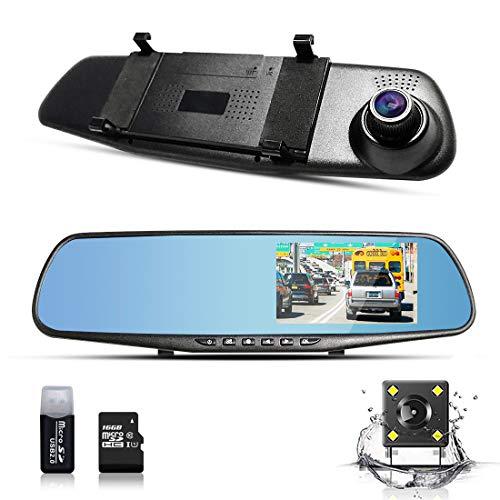 """BLUEPUPILE 1080P Cámara Dash CAM FHD Cámara Grabadora Dual Lentes Espejo Conducción Grabadora con 170° Ultra Gran Angular y 4.3"""" TFTScreen Support G-Sensor 16GB TF Card Incluido"""
