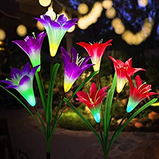 SOMONEY Solar Lights Outdoor, New Upgraded Solar Garden Stake Lights with Bigger Flower and Wider Solar Panel, Multi-Color Changing Lily Solar Flower Lights for Patio, Yard Decoration (Purple and Red)