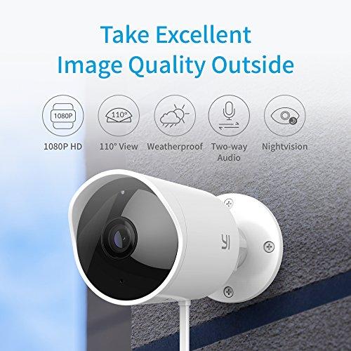 YI Telecamera da esterno Camera IP da Esterno 1080p Videocamera di Sorveglianza Outdoor Impermeabile IP65 Telecamera di Sorveglianza con Audio Bi-Direzionale, Visione Notturna (Bianco) - 2