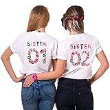 Best Friends T-Shirts für 2 Mädchen Sister Aufdruck – Sommer Oberteile Set für Zwei Damen Freunde T Shirts BFF Geburtstagsgeschenk (Weiß, Sister 01-L + Sister 02-M)