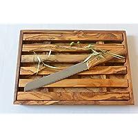 Planche à Pain ramasse miettes en bois d'olivier et son couteau à pain