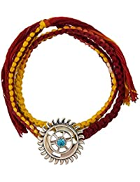 fourseven 925 Sterling Silver Sudarshan Chakra Brooch Moli Bracelet for Boys and Girls