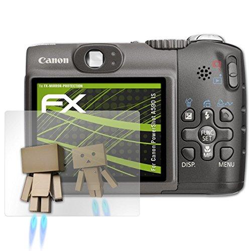 atFoliX Displayfolie kompatibel mit Canon PowerShot A590 is Spiegelfolie, Spiegeleffekt FX Schutzfolie Canon Powershot A590 Is