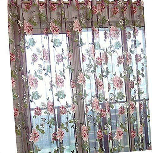 Flushzing 100x200cm Elegante Blumenmuster Tüll Voile Türfenstervorhang drapieren Panel-Sheer-Schal Volants (Schal Volant)