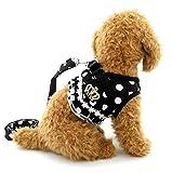 SELMAI Pegasus Puppy klein Katze Mädchen Hund Vest Dots Harness Leine-Set Mesh Gepolsterte kein Ziehen Blei Schwarz L