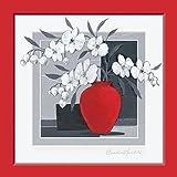 Fertig-Bild - Claudia Ancilotti: White Satin 30 x 30 cm modernes Stillleben mit Vasen Blüten zweigen in rot grau