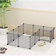 "Cocoarm Metal Playpen Pets, Expandable Wire Cage Pet Fence Exercise Pen with Door for Small Animal Dutch Pig Puppy Rabbit Indoor and Outdoor, 12 Panel Black, 14""x14"""