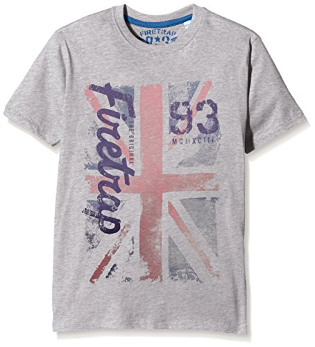 Firetrap Jungen T-Shirt Union Jack Grau (Vintage Grey Heather), 3-4 Jahre (Herstellergröße: 3-4 Years) (T-shirt Union Heather)