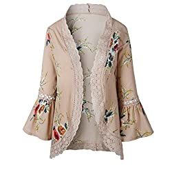 KaloryWee Women Lace Floral Open Cape Casual Coat Loose Blouse Kimono Jacket Cardigan