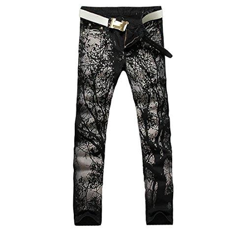 jeansian Herren Mode kausale Hose Jeans MJB029 Black W33