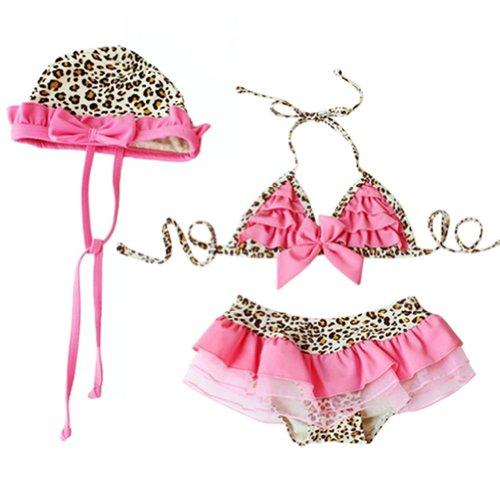 iEFiEL Mädchen 3 teilige Badeanzug mit Mütze Leopard Rosa, Rosa, 92 (Herstellergröße 2)