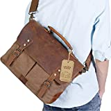 Lifewit 14-15.6 Inch Leather Satchel Messenger Laptop Shoulder Bag Canvas Briefcase (15.6 Coffee)