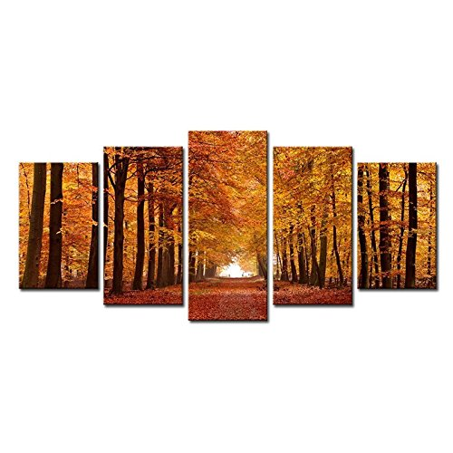 Wieco Art Autumn Forest Modern Giclee Canvas Prints Landscape Artwork 5 Panels Canvas Wall Art for Home and office Decorations