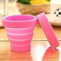 Ouken Tapa Plegable de Silicona Copa de Agua Plegable BPA Tazas de Camping de Calidad alimentaria, Rosa (Rosa)