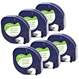 6er-Packung 91220 91200 S0721520 Papierband, 10697 Papieretiketten, Kompatibel Etikettenband Papier für Dymo LetraTag Etikettiergeräte LT-100H LT-100T QX50 XR XM 2000 Plus Schwarz auf Weiß 12mm x 4m