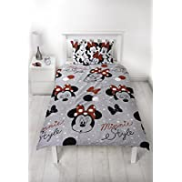 Disney Minnie Mouse Grey Single Duvet Cover | Reversible Cute Two Sided Design | Kids Bedding Set Includes Matching Pillow Case