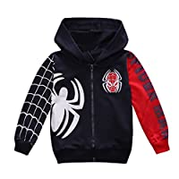 Nine Minow Boys Sweatshirt Children Spider-Man Pullover Hoodies Coat (Navy Blue, 3-4 Years)