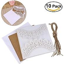 ULTNICE 10pcs hueco decorativo invitación felicitación tarjeta con sobre de encaje para bodas cumpleaños compromiso fiesta blanco