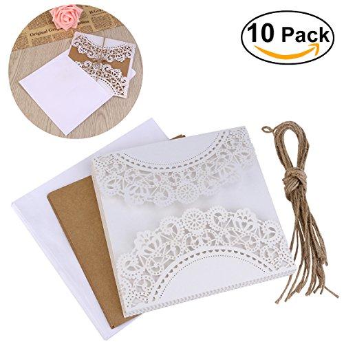 ULTNICE 10pcs hueco decorativo invitación felicitación tarjeta con sobre de ...