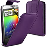( Purple ) HTC Sensation XL G21 Premium Faux Leder Flip Case Hülle & LCD-Display Schutzfolie by Fone-Case