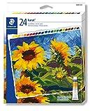 Staedtler 8500 C24 ST Acrylfarben karat (hochpigmentiert, weicher Farbabstrich, leicht mischbar, Künstlerqualität, Kartonetui mit 24 farblich sortierten Acrylfarben, Farbtuben á 12 ml)