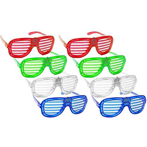 Skitic 8 Piece Unisex Fashion LED Brille Glow Kühle Blinkende Gläser Geschlitzt Shutter Shades Leuchten Glasses Funny Eyewear für Erwachsene und Kinder Party Tanzen Nacht Pub Bar Klub (Halloween Gruppe Große Kostüme)